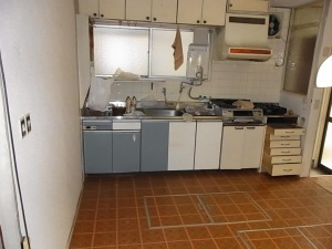 The old kitchen. The wall on the left will be demolished